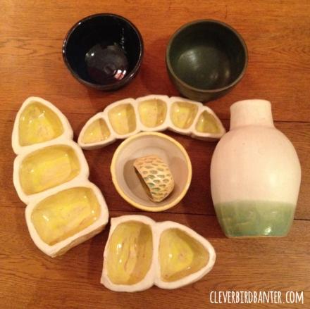 pea pods, vase + bowls